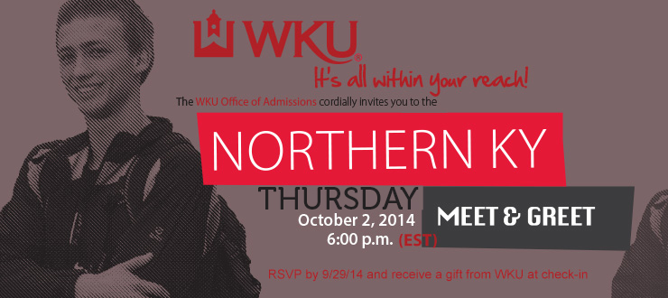 Northern Kentucky Meet and Greet Thursday, October 2, 2014 - 6:00 PM (EST) Receptions