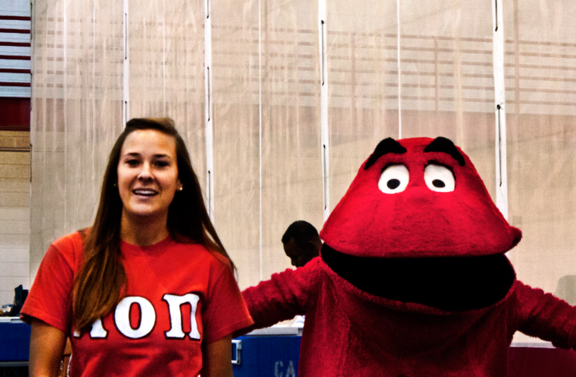 Kaylee and Big Red working the Red Cross blood drive.