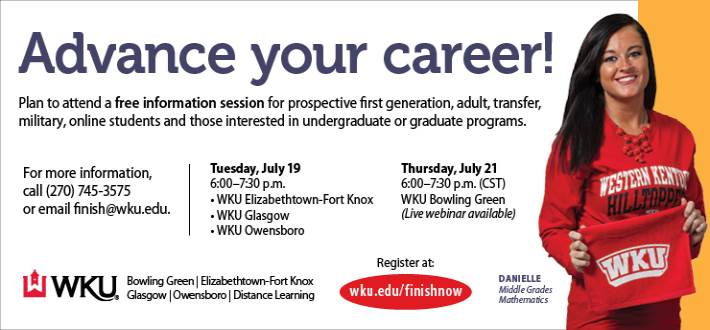 Learn how you can start or finish your degree at WKU. Register Now!