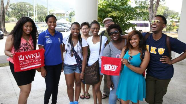 Dr. Rosa with students in Trinidad