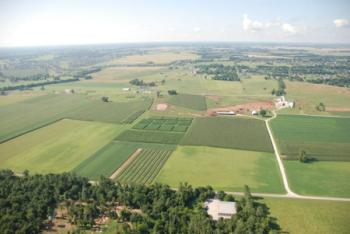 aerial shot of farm
