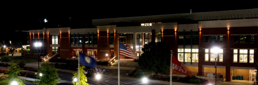 Photo of Downing University Center plaza at night by Clinton Lewis.