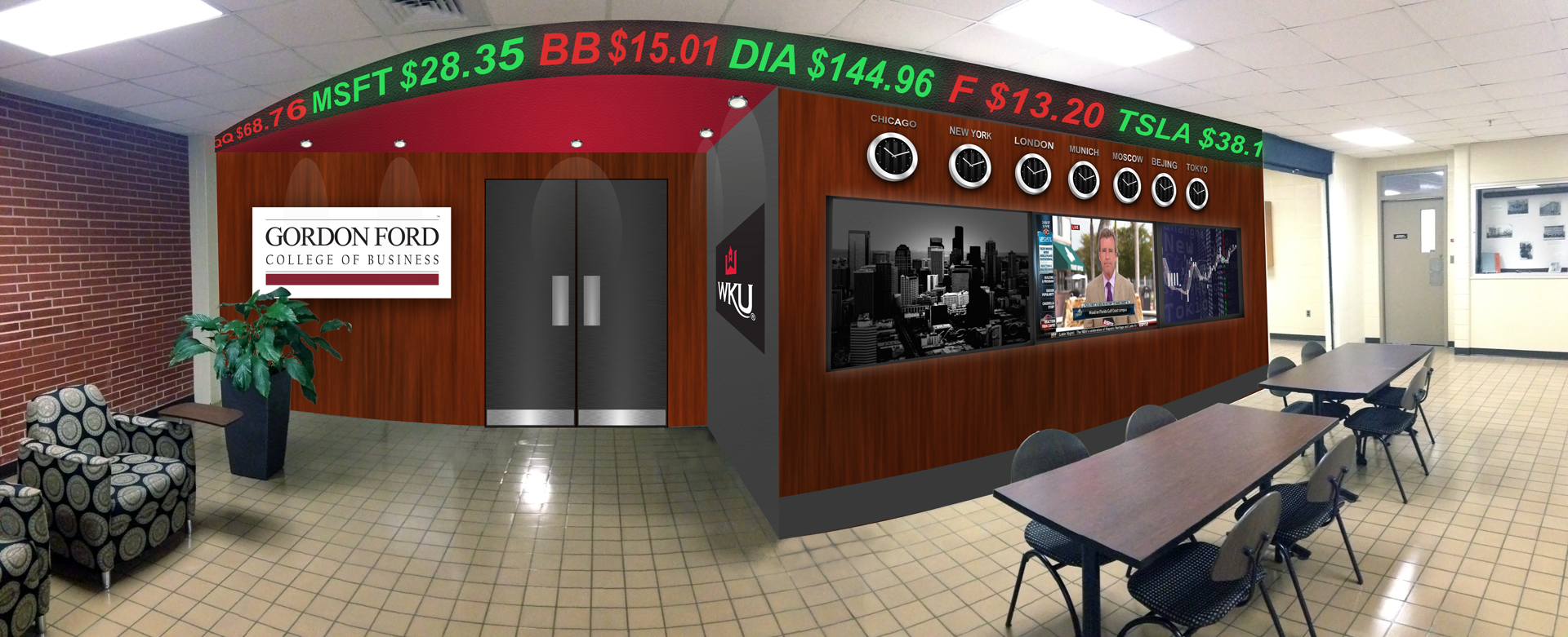 A rendering of the proposed changes to the GH 1st floor lobby.