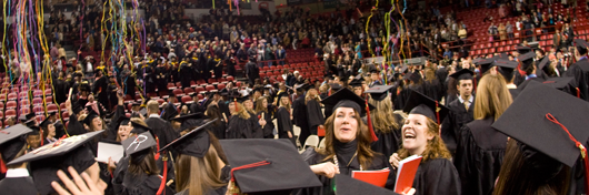 Photo of WKU students celebrating at Convocation by Clinton Lewis.