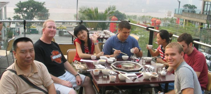 Dr. Scott Droege with students in Chonqing, China 2007