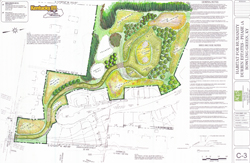 landscape design map for water basin, bio-retention swell