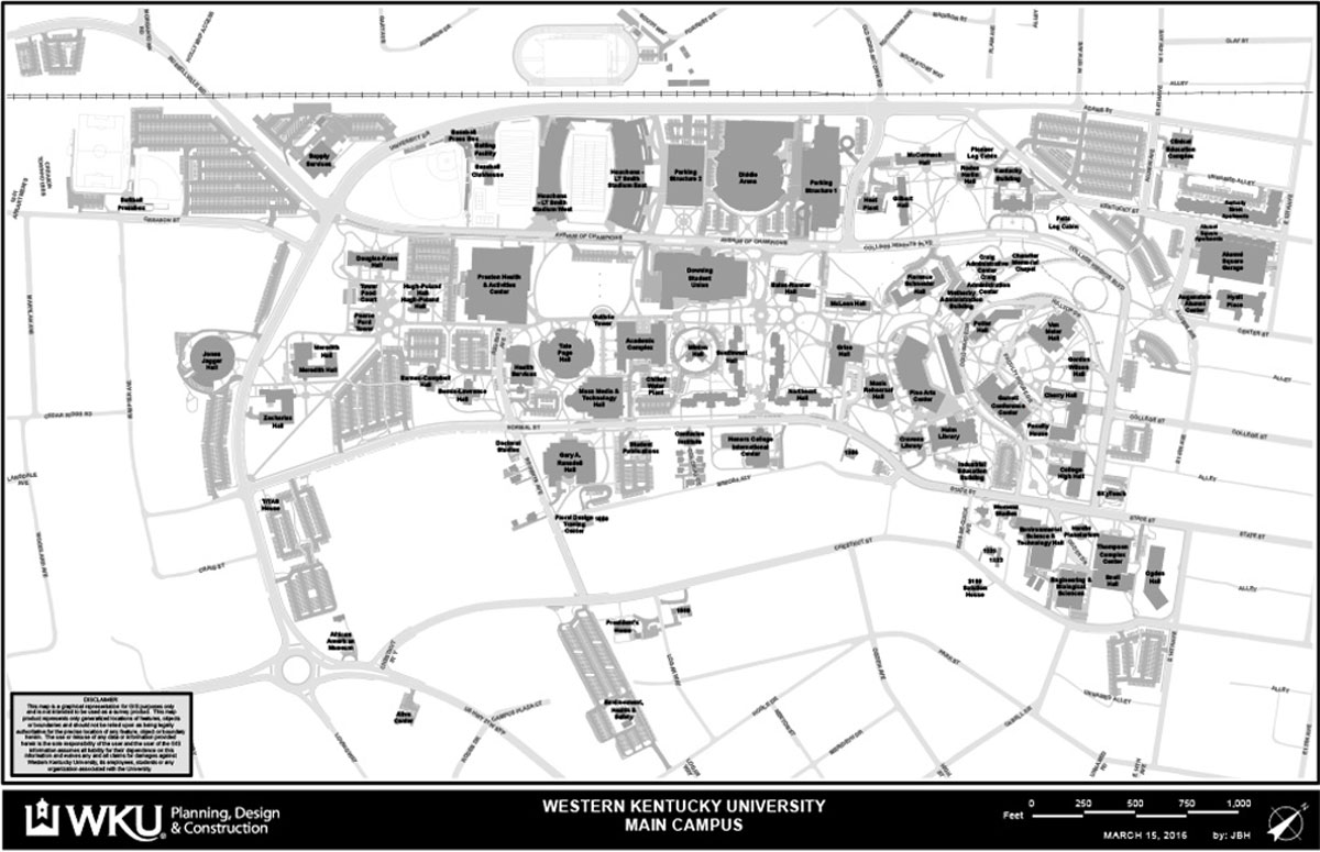 Kentucky Campus Map.Campus Maps Western Kentucky University