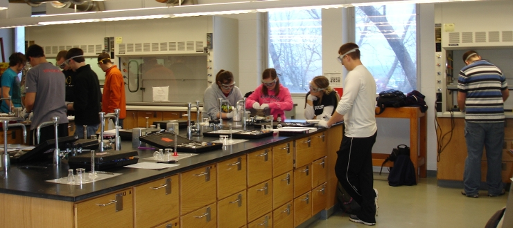Undergraduate students are getting hands on experience in a Organic lab