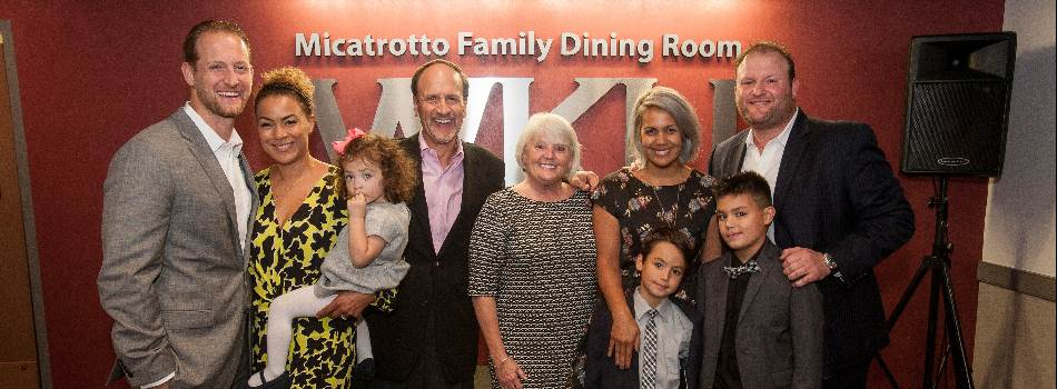 The Micatrotto Family donated $150,000 to the Department of Family and Consumer Sciences' Hospitality Management Program.  In appreciation, the dining room in Academic Complex is now named: The Micatrotto Family Dining Room. (Photo credit: Clinton Lewis)