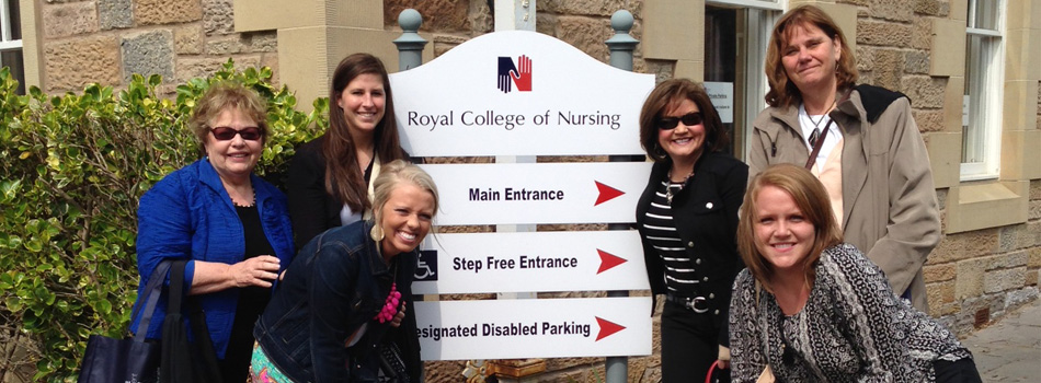 School of Nursing and Social Work faculty with students at Royal College of Nursing in Edinburgh, Scotland