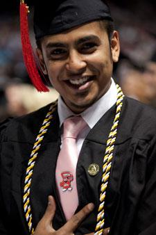 commencement student with Big Red tie