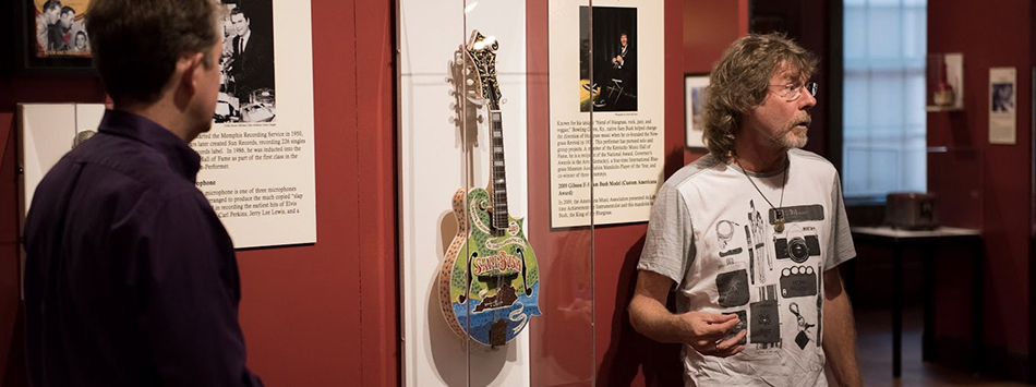 Sam Bush provided a mandolin as part of the Instruments of American Excellence exhibition at the Kentucky Museum. The mandolin was given to Bush from the Americana Music Association as a gift for receiving the lifetime achievement for instrumentalist honor in 2009. Photo by William Kolb.
