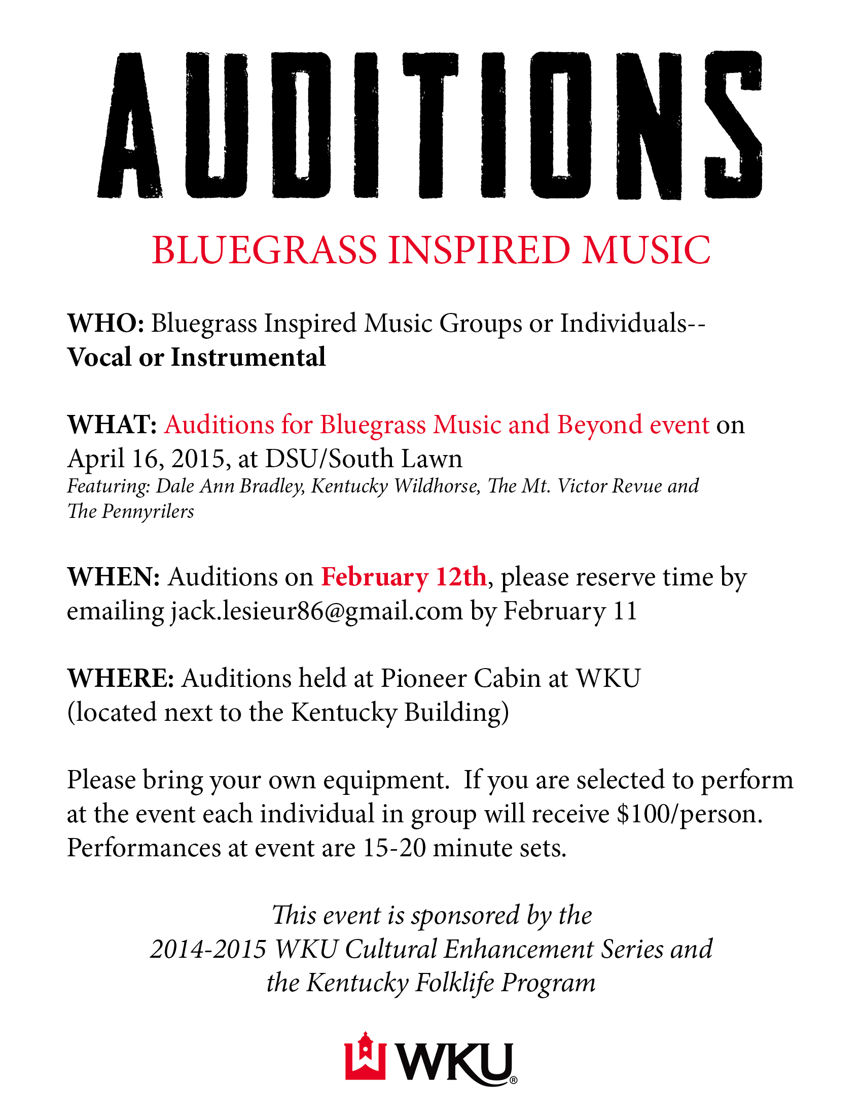 bluegrass auditions