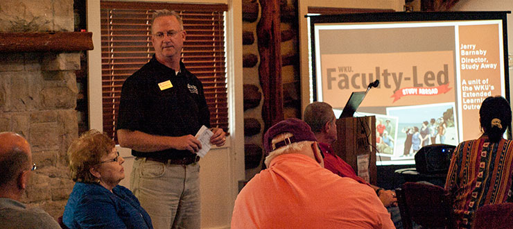 Jerry Barnaby, Study Away Director, discussed faculty-led study abroad opportunities with interested faculty during International Reach Week.