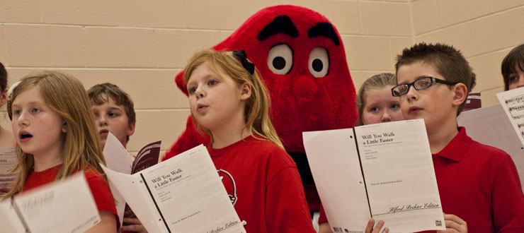 Big Red joined SOKY Children's Chorus members during practice.