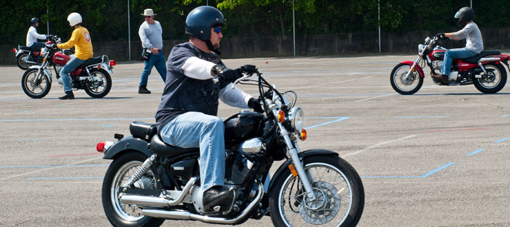 Participants in Continuing Education's motorcycle rider education enhance their skills at the new course off of Campbell Lane.