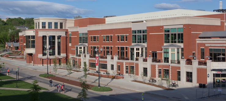 The exterior of Downing Student Union