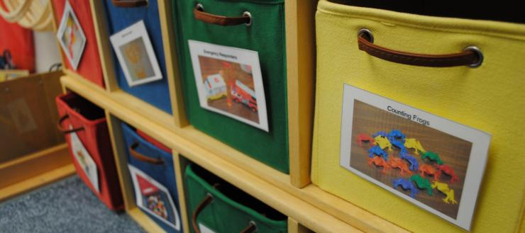 toy bins in the Early Childhood Center