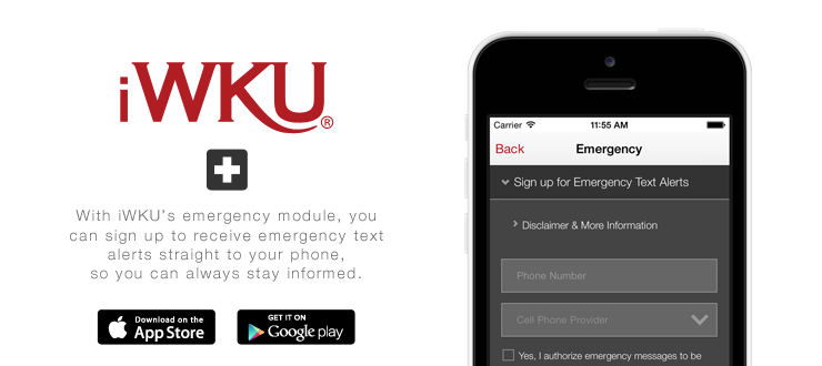 iWKU mobile app - emergency alerts.  Download on iTunes, Google Play