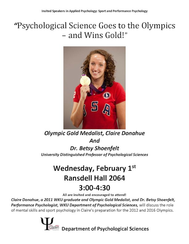 olympic gold medalist claire donahue to speak at GRH 2064. Wednesday, feb 1. 3-4:30pm.