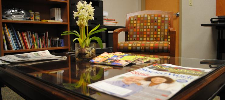 the client seating area in the Family Resource Program office