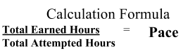 calculation formula: total earned hours/total attempted hours = pace