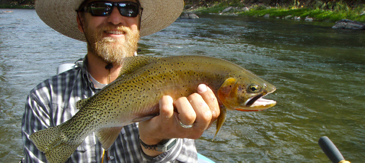 Russell Parks with Cutthroat Trout - Blackfoot River, Montana