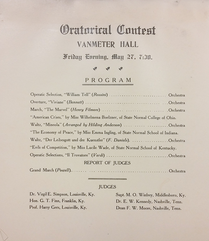 1910 program for the first known intercollegiate oratorical contest at which the Western Kentucky State Normal School competed (they also hosted)