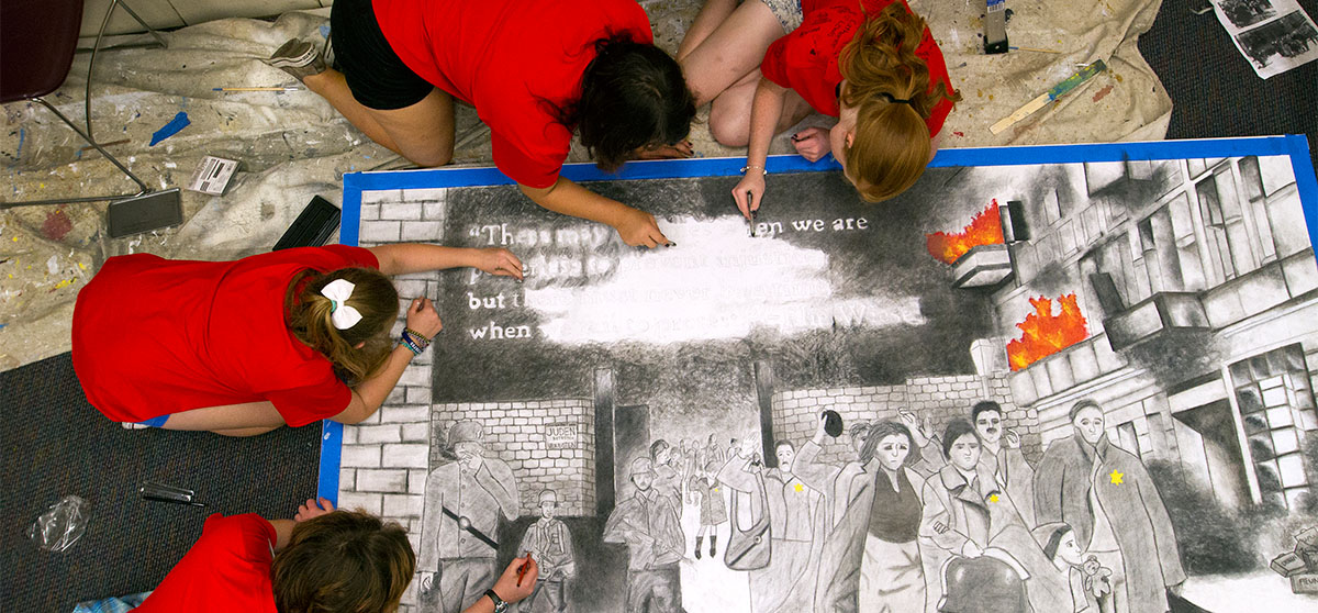 Reception for student-made murals