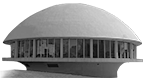 the Hardin Planetarium is shaped with a smooth dome on top, and is mounted on a column which curves outward as it reaches up to the main floor level