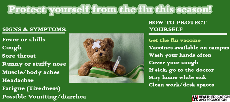 Protect yourself from the flu this season.  Get the flu shot, wash hands regularly, cover cough, stay home if sick, sick doctor of sick; symptoms are cough, runny nose, fever, chills aches,