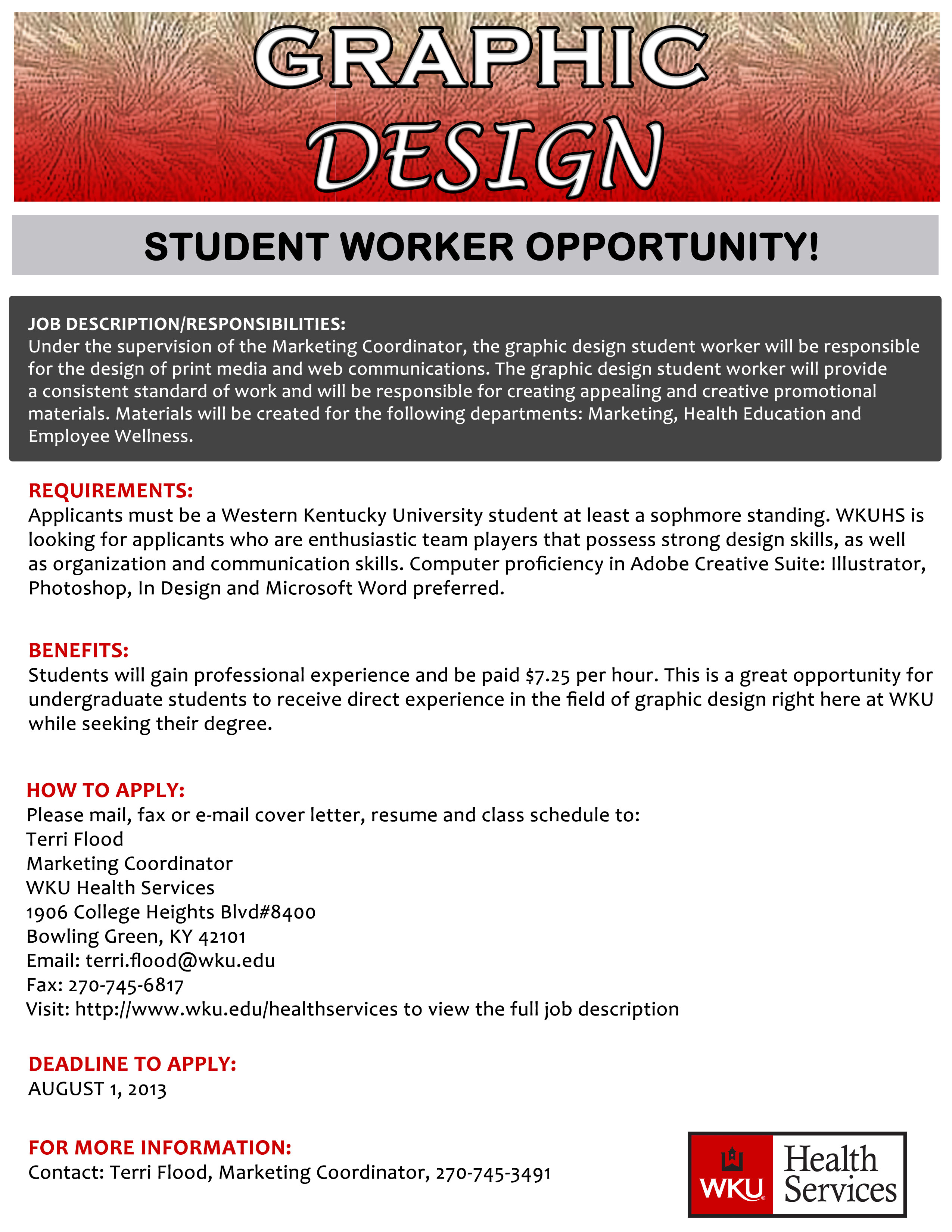 Graphic Design Student Worker Opportunity