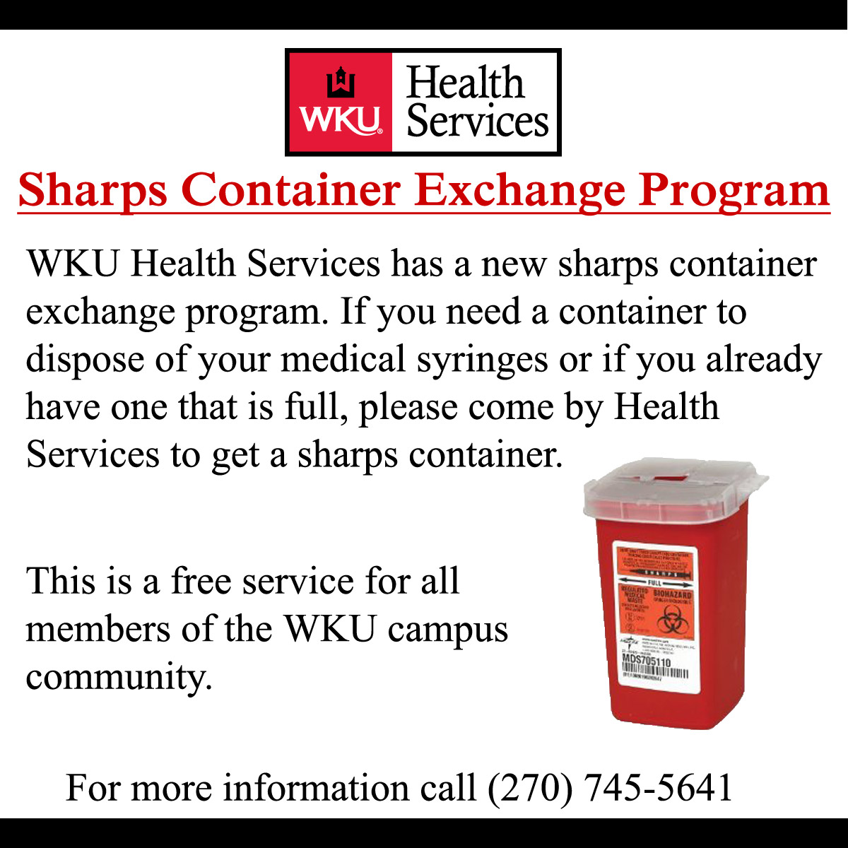 WKU Health Services sharps container exchange program