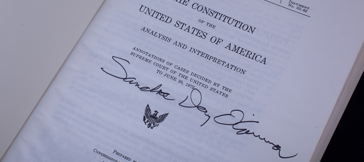 Copy of the U.S. Constitution belonging to U.S. Supreme Court Justice Sandra Day O'Connor
