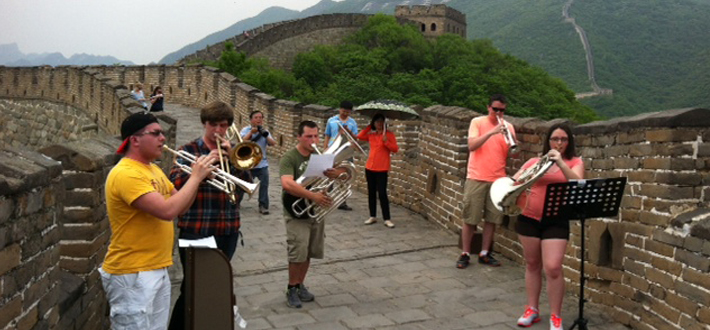 The WKU Brass Quintet played on the Great Wall of China during WKU Symphony's tour of China during which they will give performances in Bejing, Baoding and Xien in Shanghai.