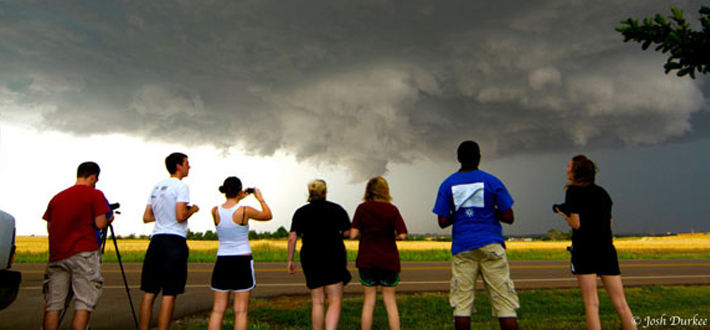Students in the summer term Field Methods in Weather Analysis and Forecasting course have traveled to the Great Plains to forecast, analyze, document and study severe convective storms. Click this image to follow their progress. Photo by Dr. Josh Durkee