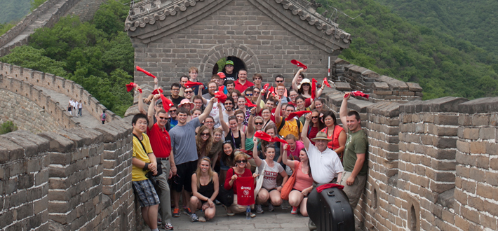 WKU President Dr. Gary Ransdell and Mrs. Julie Ransdell joined members of the WKU Symphony on the Great Wall of China on their current tour of China during which the symphony will give performances in Beijing, Baoding and Xi'an.