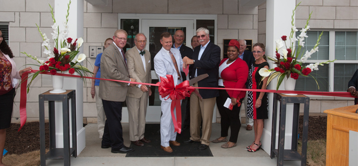 WKU's Department of Housing & Residence Life and the Student Life Foundation dedicated the new 1355 Kentucky Street Apartments on Aug. 11. The facility has 32 one-bedroom apartments and 95 two-bedroom apartments and is at maximum capacity with 222 upperclassmen occupants.
