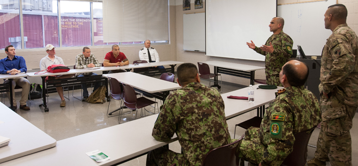 WKU's ROTC program hosted Roshan Safi, Sergeant Major of the Afghan National Army, and Mohammad Ali Hussaini, Command Sergeant Major of Ground Force Command, on Tuesday (Oct. 28).