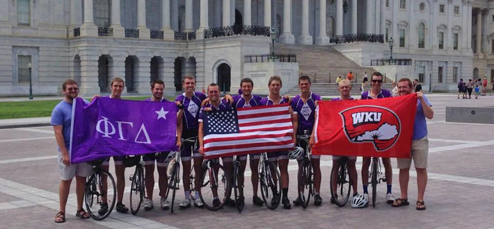The 2014 Bike4Alz riders completed their cross country ride July 18 in Washington, D.C. The WKU students started their ride on May 24 in San Diego, Calif., with a goal to raise $100,000 for the BrightFocus Foundation for Alzheimer's research. For more about the trip, including rider blogs, check out the Bike4Alz website at http://www.bike4alz.org/