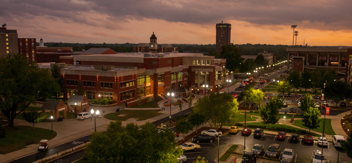 WKU Downing Student Union at dusk