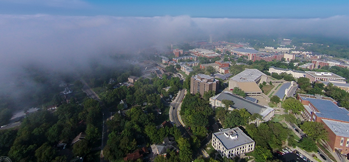 WKU Geography and Geology Associate Professor Dr. Josh Durkee obtained this quad-copter image from 350 ft. above WKU's campus showing approaching fog on Sept. 9.