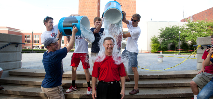 WKU President Dr. Gary A. Ransdell accepted the ALS Ice Bucket Challenge on Aug. 22 and was doused by the WKU Phi Delta Theta chapter.  ALS is the primary charity supported by the fraternity. Click to watch the video.