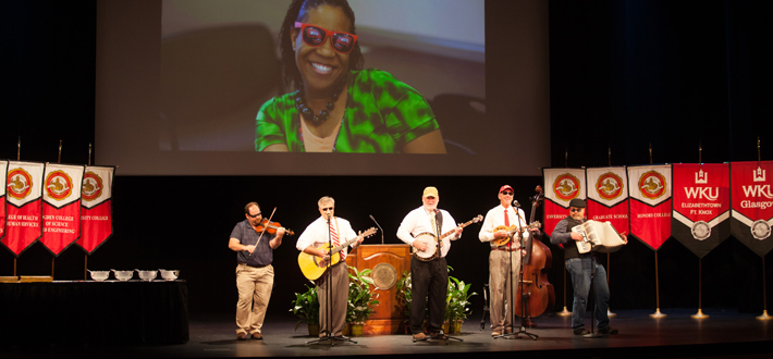 Bowling Green's Mt. Victor Revue (lead by 2014 Spirit of WKU award recipient, Dr. Bruce Kessler) opened up the President's Convocation ceremony on Aug. 22.