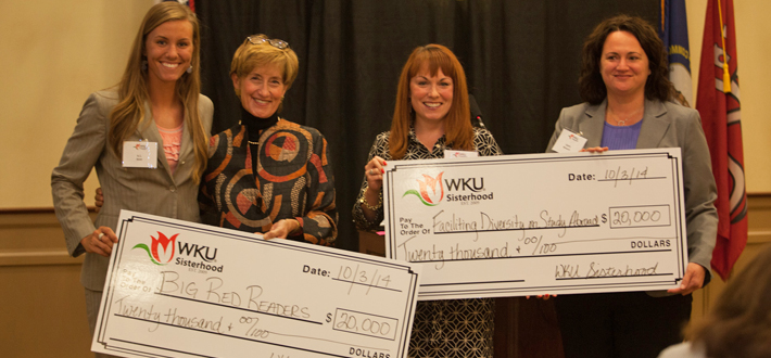 The WKU Sisterhood recently awarded grants to Kathryn Boldt, WKU Softball for her project Big Red's Readers and Laura Monarch, Study Abroad & Global Learning for Facilitating Diversity on Study Abroad Programs