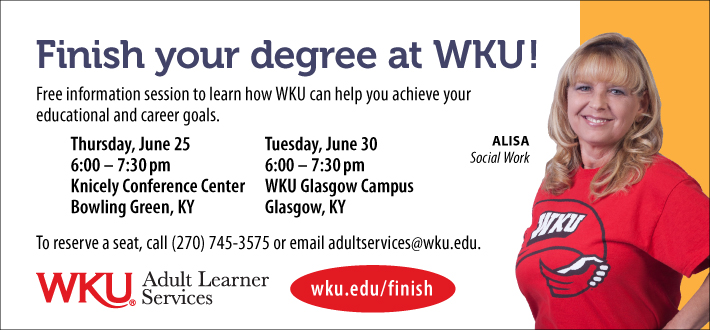 Finish your degree at WKU!  Free info sessions this week in Bowling Green and Glasgow.  Learn more wku.edu/finish
