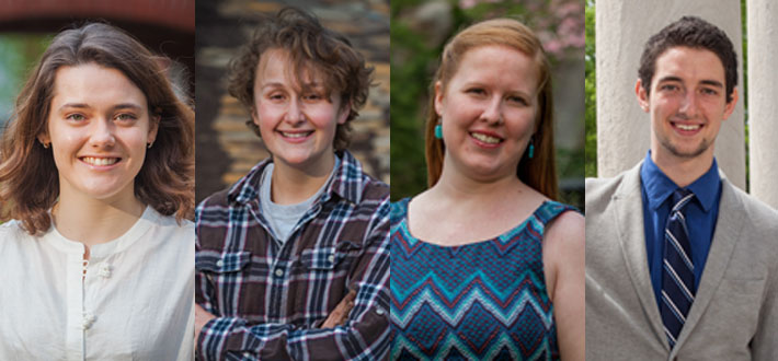 Four WKU students have been recognized by the U.S. State Department's Critical Language Scholarship Program. From left: Mackenzie Donoghue, Alex Hezik and Kelly Tursic received scholarships; Jody Dahmer was named an alternate. Click the image to read more on WKU News.