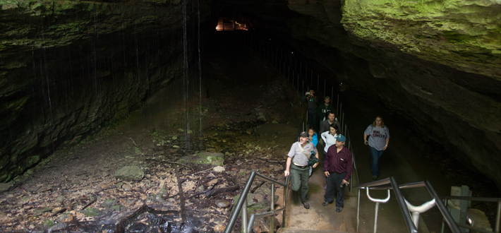 "Dr. Rick Toomey of the Mammoth Cave International Center for Science and Learning (front left) and Dr. Chris Groves of WKU (front right) lead an environmental education event for the public at the Historic Entrance to the Mammoth Cave System. This took place Saturday as part of the 2015 Obscura Day, a collection more than 150 events in 39 states and 25 countries, all designed to ""celebrate the world's most curious and awe-inspiring places."