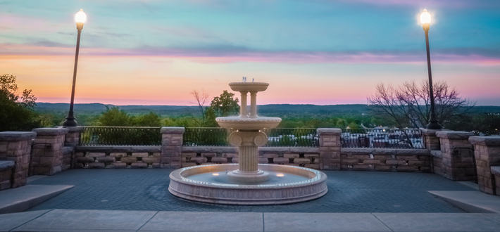 Guthrie Fountain at Sunset