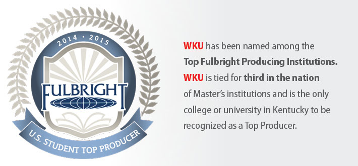 WKU has been named among the Top Fulbright Producing Institutions. WKU is tied for third in the nation of Master's institutions and the only college or university in Kentucky to be recognized as a Top Producer.